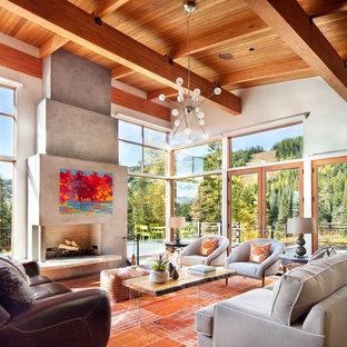 Ispirazione per un soggiorno rustico aperto con pavimento in legno massello medio, sala formale, pareti bianche e nessuna TV
