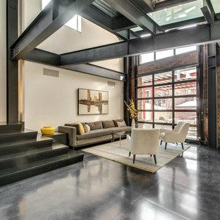 Foto de salón tipo loft, minimalista, grande, con paredes beige y suelo de cemento