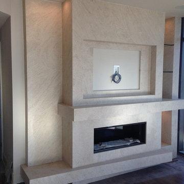 Modern Taj Mahal Quartzite Custom Fireplace Wall