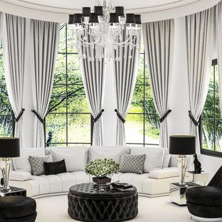 Modern inredning av ett stort allrum med öppen planlösning, med ett finrum, vita väggar, heltäckningsmatta och vitt golv
