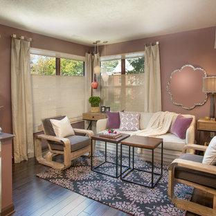 Ispirazione per un soggiorno chic con pareti viola, sala formale, parquet scuro, nessun camino e nessuna TV