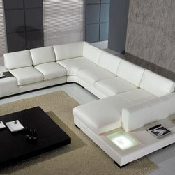 Modern U-Shape Sectional Sofa in White Bonded Leather - Features: