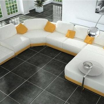 Modern U Shape White Leather Sectional Sofa