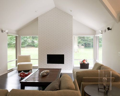 Modern Living Room With Brick Fireplace brick fireplace | houzz