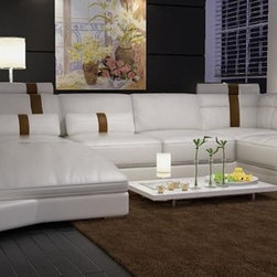 Modern White Bonded Leather Sectional Sofa with Built-in Lights - Features:
