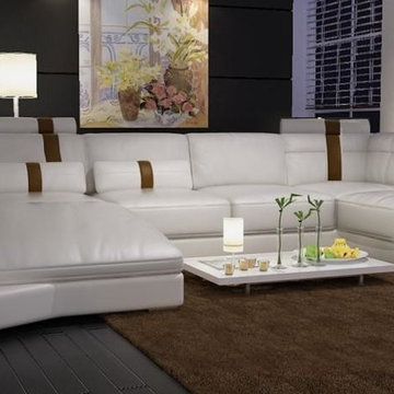 Modern White Bonded Leather Sectional Sofa with Built-in Lights
