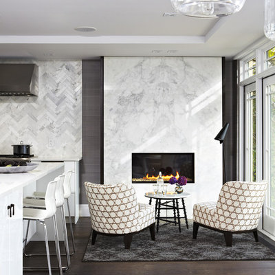 Inspiration for a mid-sized contemporary formal and open concept dark wood floor and brown floor living room remodel in Toronto with white walls, a ribbon fireplace, a stone fireplace and no tv