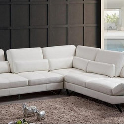 Modern White Leather Sectional Sofa - Features: