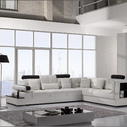 Modern White Leather Sectional Sofa with Storage - Features: