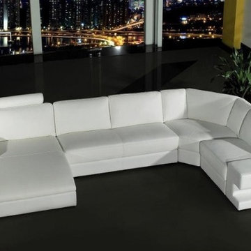 Modern White U Shape Leather Sectional with Chaise