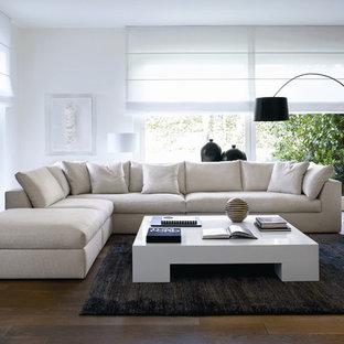 Modelo de salón minimalista, grande, con paredes blancas