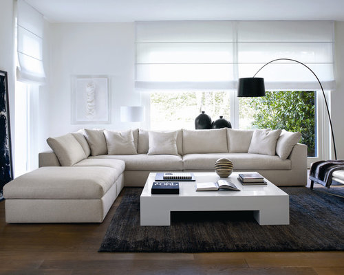 of a large minimalist living room design in other with white walls