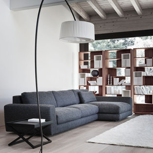 Living room library - contemporary living room library idea in Philadelphia with white walls