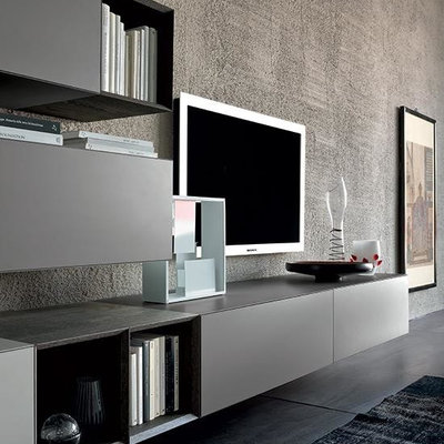 Living room - modern living room idea in Boston with a media wall