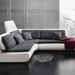 Mona Luxe - Premium quality European modular sectional with adjustable backrest.  Wide fabric selection.