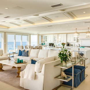 Inspiration for a beach style formal and open concept living room remodel in Orange County