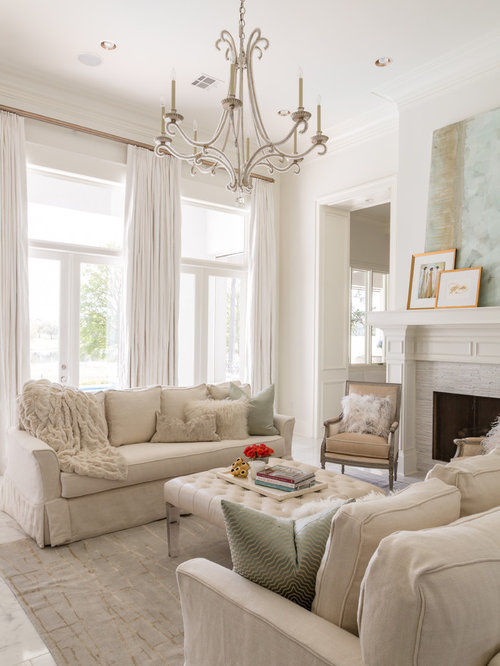 Inspiration For A Large Timeless Enclosed Living Room Remodel In New Orleans  With White Walls And