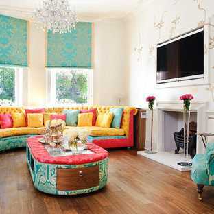 Large Transitional Medium Tone Wood Floor Living Room Photo In London With  Beige Walls, A
