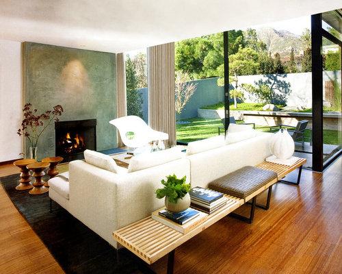1950s open concept living room idea in Santa Barbara with no tv