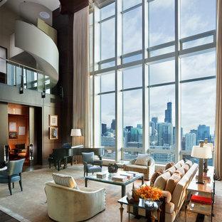 Diseño de salón con rincón musical abierto, contemporáneo, con paredes marrones, suelo de madera oscura y suelo marrón