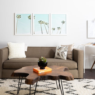 Living Room Midcentury Modern Dark Wood Floor And Brown Idea In Los