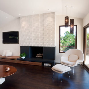 Midcentury Modern Open Concept Dark Wood Floor And Brown Living Room Photo In San Francisco