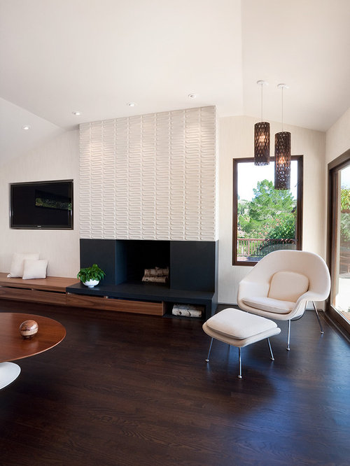 Midcentury Modern Open Concept Dark Wood Floor And Brown Floor Living Room  Photo In San Francisco