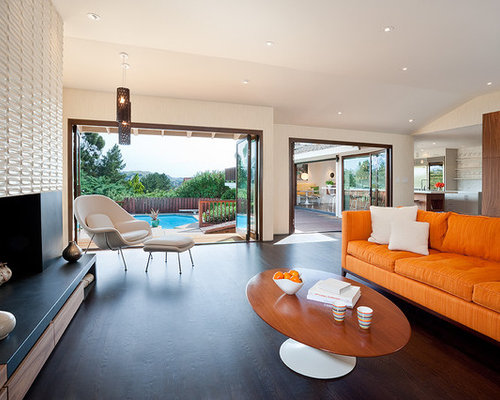 Inspiration For A 1960s Open Concept Dark Wood Floor And Brown Family Room Remodel In