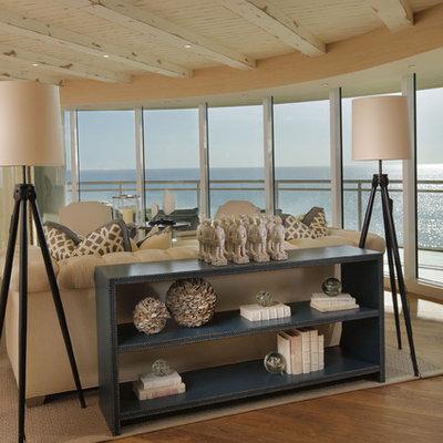 Beach style open concept living room photo in Miami
