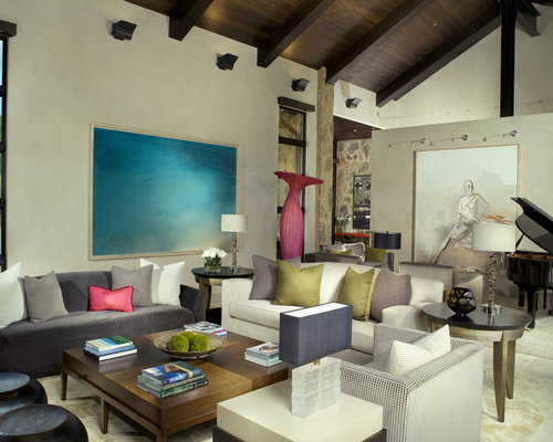 lighting for vaulted ceiling. large minimalist living room photo in denver with a music area lighting for vaulted ceiling