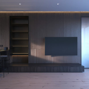 Inspiration for a small modern open plan living room in Hong Kong with brown walls, light hardwood flooring and a wall mounted tv.
