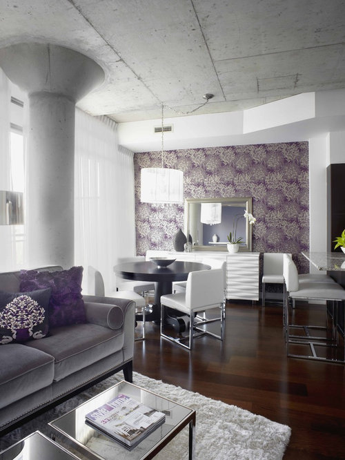 Purple Living Room 15 best purple rooms walls ideas for decorating with purple Trendy Living Room Photo In Toronto With Purple Walls