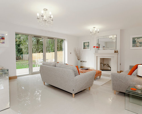 Minimalist White Floor Living Room Photo In Dorset With White Walls And A  Standard Fireplace Part 85