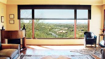 Motorized Screen Shades for Desert Mountain Home