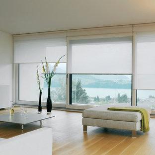 Imagen de salón cerrado, moderno, de tamaño medio, sin televisor, con paredes blancas, suelo de madera clara y suelo marrón