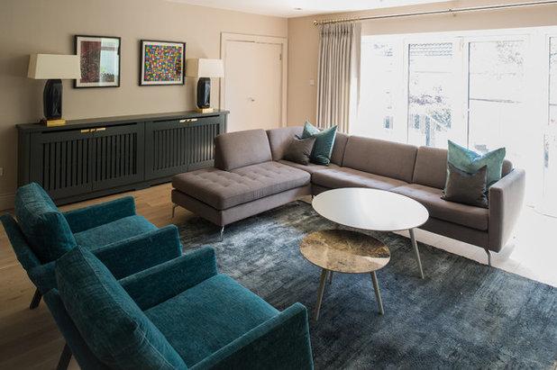 Transitional Living Room by Jane Higgins Home Design