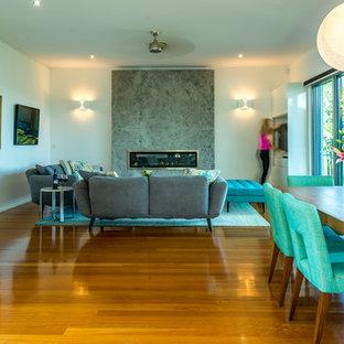 ブリスベンの中サイズのコンテンポラリースタイルのおしゃれなLDK (白い壁、淡色無垢フローリング、標準型暖炉、石材の暖炉まわり、内蔵型テレビ) の写真