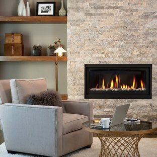 Inspiration for a medium sized traditional enclosed living room in Calgary with grey walls, vinyl flooring, a standard fireplace and a stone fireplace surround.