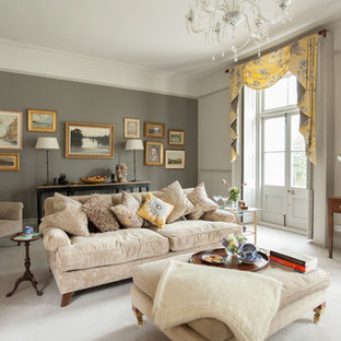 Inspiration For A Classic Living Room In Other With Grey Walls, Carpet And  Grey Floors