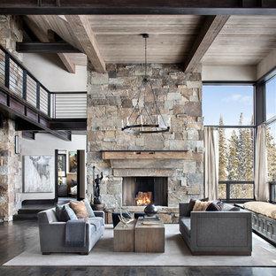 Ispirazione per un soggiorno stile rurale