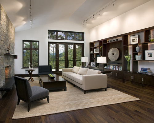 Exceptional Dark Wood Floor And White Wall Living Room Design Ideas Remodels