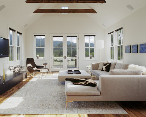 Classic Living Room In Denver With White Walls And A Wall Mounted Tv