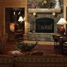 Rustic Living Room by Satterwhite Log Homes