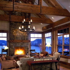 Rustic Living Room by Copper Creek Homes, LLC