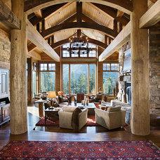 Rustic Living Room by BLUE RIBBON BUILDERS INC