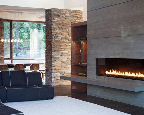Example Of A Trendy Living Room Design In Sacramento With A Ribbon Fireplace