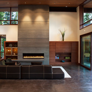 Contemporary living room in Sacramento with concrete flooring.