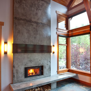 Mountain Modern home - fireplace renovation