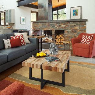 アルバカーキの大きいコンテンポラリースタイルのおしゃれなLDK (グレーの壁、無垢フローリング、両方向型暖炉、石材の暖炉まわり、壁掛け型テレビ) の写真