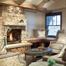 Rustic Living Room by Crested Butte Builders Inc